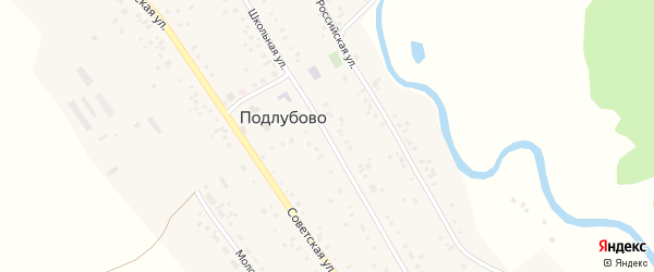 Школьная улица на карте села Подлубово с номерами домов