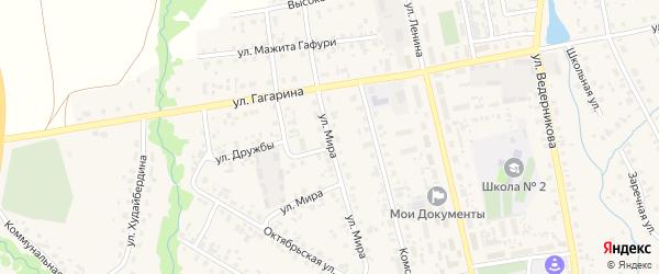 Улица Мира на карте села Верхние Татышлы с номерами домов