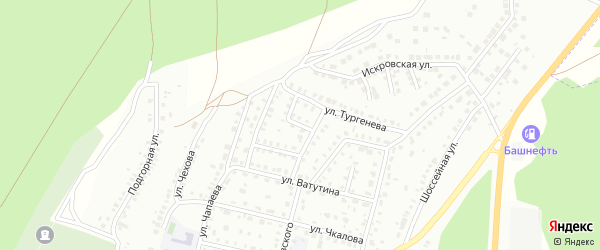 Переулок Тургенева на карте Кумертау с номерами домов