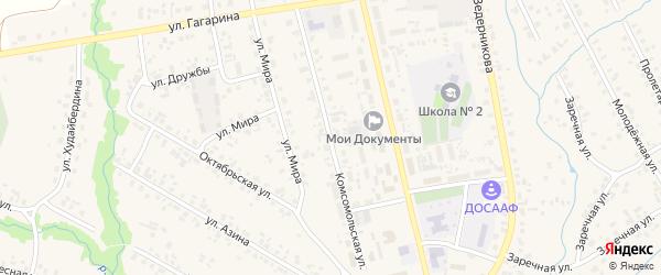 Комсомольская улица на карте села Верхние Татышлы с номерами домов