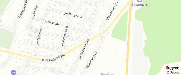 Массив 11 Шоссейная улица на карте Кумертау с номерами домов