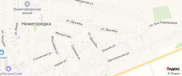 Улица Дружбы на карте села Нижегородки с номерами домов