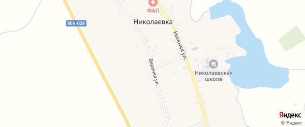Верхняя улица на карте села Николаевки с номерами домов