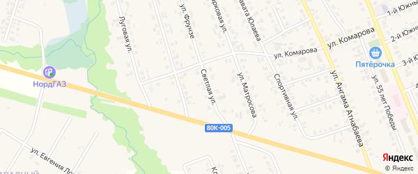 Светлая улица на карте села Верхние Татышлы с номерами домов