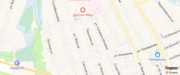 Парковая улица на карте села Верхние Татышлы с номерами домов