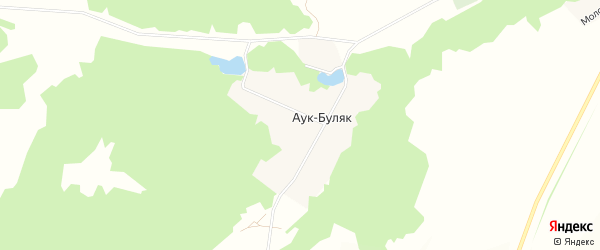 Карта деревни Аука-Буляка в Башкортостане с улицами и номерами домов