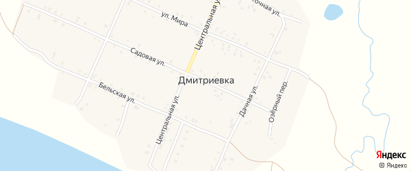 Дачная улица на карте деревни Дмитриевки с номерами домов