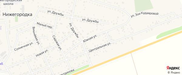 Южная улица на карте села Нижегородки с номерами домов