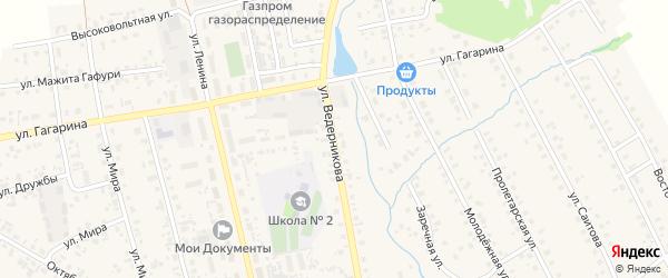 Улица Ведерникова на карте села Верхние Татышлы с номерами домов
