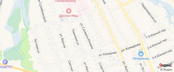 Улица С.Юлаева на карте села Верхние Татышлы с номерами домов