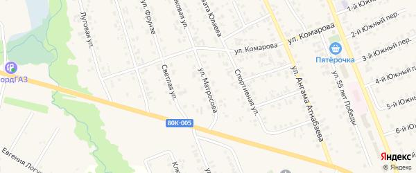 Улица Матросова на карте села Верхние Татышлы с номерами домов