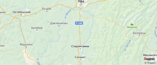 Карта Аургазинского района республики Башкортостан с городами и населенными пунктами