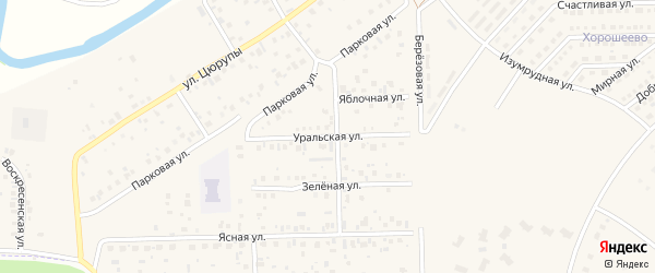 Уральская улица на карте села Булгаково с номерами домов