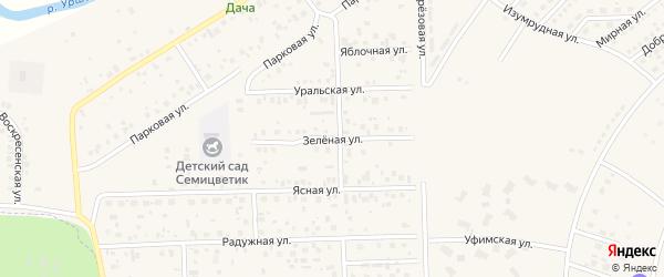 Зеленая улица на карте села Булгаково с номерами домов