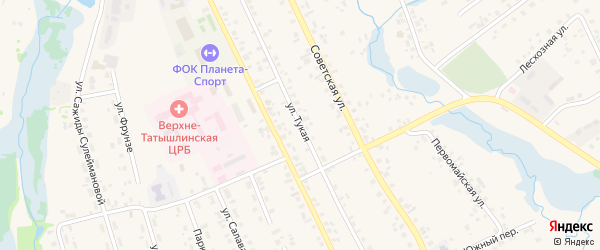 Тукая улица на карте села Верхние Татышлы с номерами домов