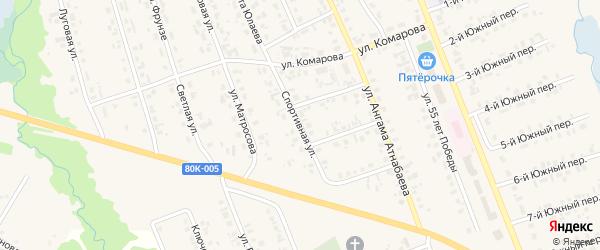 Спортивная улица на карте села Верхние Татышлы с номерами домов