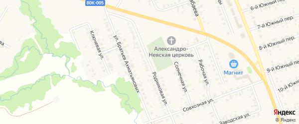 Родниковая улица на карте села Верхние Татышлы с номерами домов