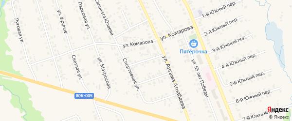 Спортивный 1-й переулок на карте села Верхние Татышлы с номерами домов
