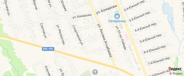 Спортивный 2-й переулок на карте села Верхние Татышлы с номерами домов