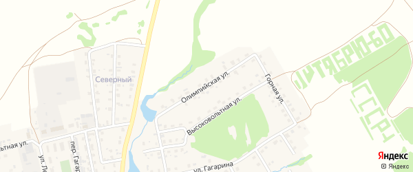 Олимпийская улица на карте села Верхние Татышлы с номерами домов