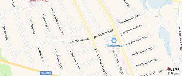 Улица Комарова на карте села Верхние Татышлы с номерами домов