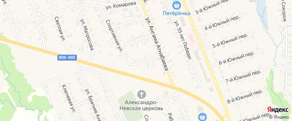 Спортивный 3-й переулок на карте села Верхние Татышлы с номерами домов