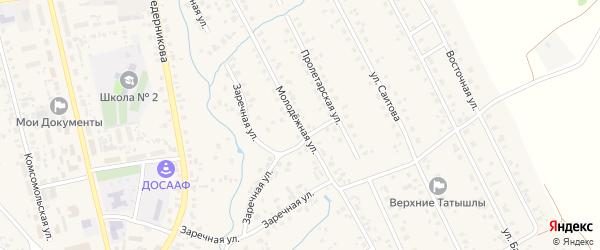 Молодежная улица на карте села Верхние Татышлы с номерами домов