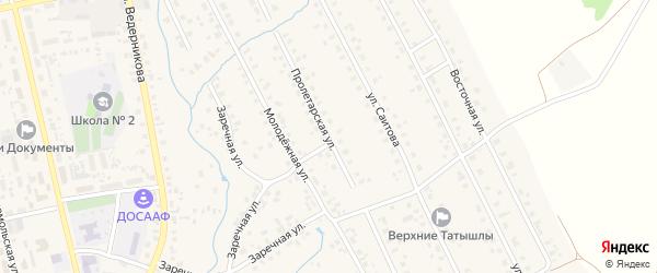 Пролетарская улица на карте села Верхние Татышлы с номерами домов