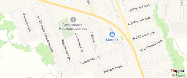 Рабочая улица на карте села Верхние Татышлы с номерами домов