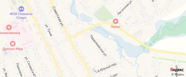Первомайская улица на карте села Верхние Татышлы с номерами домов
