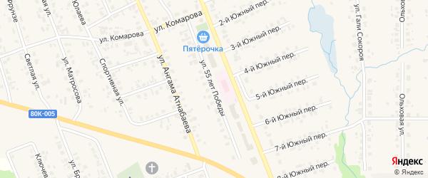 Улица 55 лет Победы на карте села Верхние Татышлы с номерами домов