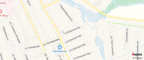 Южный 1-й переулок на карте села Верхние Татышлы с номерами домов