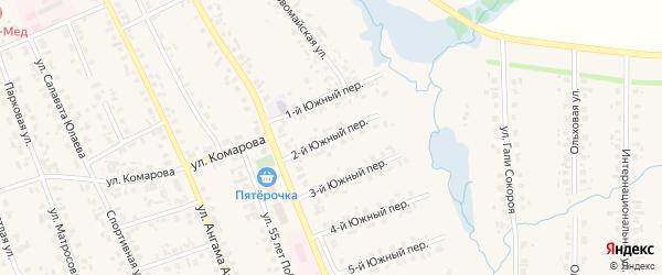 Южный 2-й переулок на карте села Верхние Татышлы с номерами домов