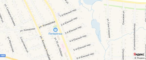 Южный 3-й переулок на карте села Верхние Татышлы с номерами домов