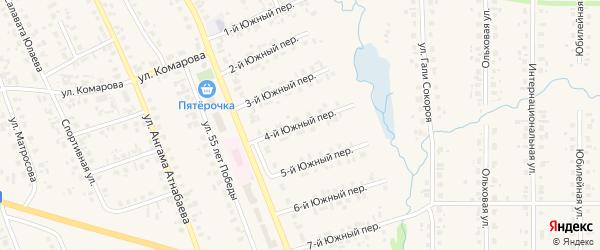 Южный 4-й переулок на карте села Верхние Татышлы с номерами домов