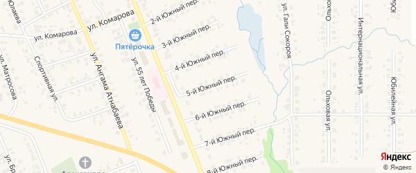 Южный 5-й переулок на карте села Верхние Татышлы с номерами домов