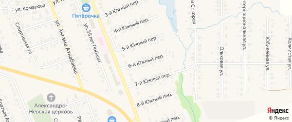 Южный 6-й переулок на карте села Верхние Татышлы с номерами домов