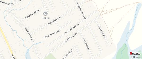 Российская улица на карте села Верхние Татышлы с номерами домов