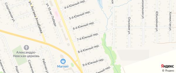 Южный 7-й переулок на карте села Верхние Татышлы с номерами домов