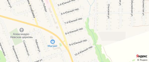 Южный 8-й переулок на карте села Верхние Татышлы с номерами домов