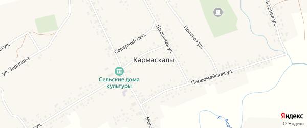 Луговая улица на карте села Кармаскалы с номерами домов