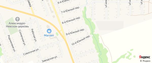 Южный 9-й переулок на карте села Верхние Татышлы с номерами домов