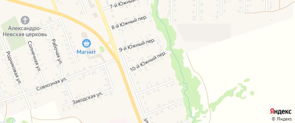 10-й Южный переулок на карте села Верхние Татышлы с номерами домов
