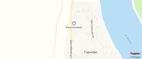 Шоссейная улица на карте села Горново с номерами домов