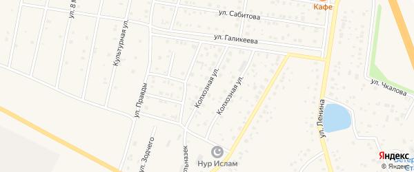 Колхозная улица на карте села Толбазы с номерами домов