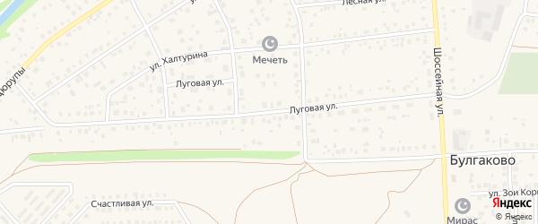 Луговая улица на карте села Булгаково с номерами домов