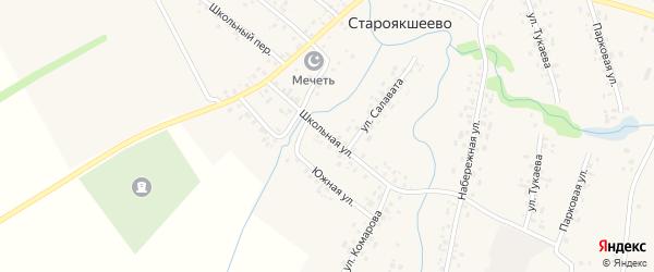 Школьная улица на карте деревни Староякшеево с номерами домов