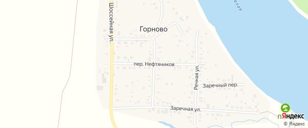 Переулок Нефтяников на карте села Горново с номерами домов