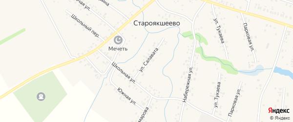 Улица Салавата на карте деревни Староякшеево с номерами домов