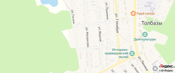 Улица Матросова на карте села Толбазы с номерами домов